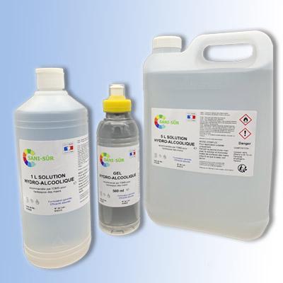 Kit solution composé de 12 bouteilles à clapet 1 litre, de 4 bidons de 5 litres de solution hydroalcoolique et d'une bouteille gourde 500 ml de gel hydroalcoolique offerte