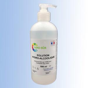 Bouteille 500 ml à pompe pour solution hydroalcoolique