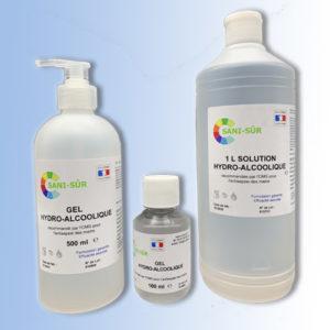 Kit individuel composé d'une bouteille 500 ml pompe et 1 bouteille de 100 ml de gel hydroalcoolique et d'une bouteille à clapet 1 litre de solution hydroalcoolique